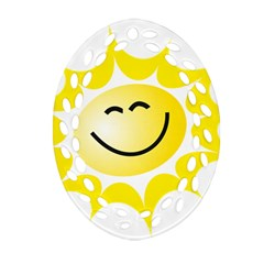 The Sun A Smile The Rays Yellow Ornament (Oval Filigree)