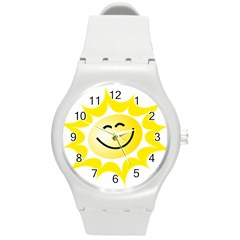 The Sun A Smile The Rays Yellow Round Plastic Sport Watch (m)