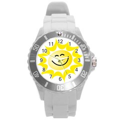 The Sun A Smile The Rays Yellow Round Plastic Sport Watch (L)
