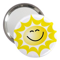 The Sun A Smile The Rays Yellow 3  Handbag Mirrors