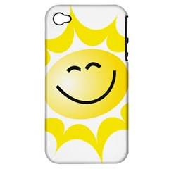 The Sun A Smile The Rays Yellow Apple iPhone 4/4S Hardshell Case (PC+Silicone)