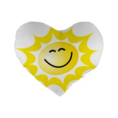 The Sun A Smile The Rays Yellow Standard 16  Premium Heart Shape Cushions