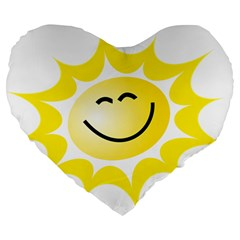 The Sun A Smile The Rays Yellow Large 19  Premium Heart Shape Cushions