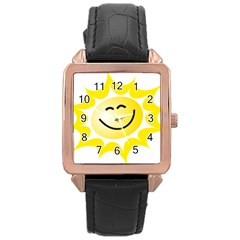 The Sun A Smile The Rays Yellow Rose Gold Leather Watch
