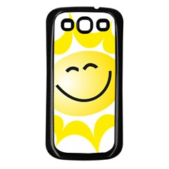 The Sun A Smile The Rays Yellow Samsung Galaxy S3 Back Case (Black)