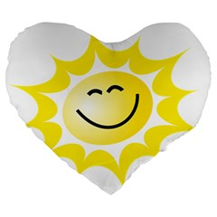 The Sun A Smile The Rays Yellow Large 19  Premium Flano Heart Shape Cushions