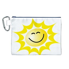 The Sun A Smile The Rays Yellow Canvas Cosmetic Bag (L)