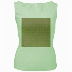 Pattern Ornament Brown Background Women s Green Tank Top