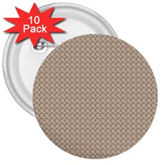 Pattern Ornament Brown Background 3  Buttons (10 Pack)