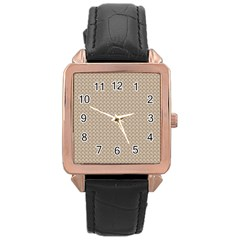 Pattern Ornament Brown Background Rose Gold Leather Watch