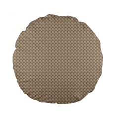 Pattern Ornament Brown Background Standard 15  Premium Flano Round Cushions