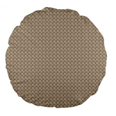Pattern Ornament Brown Background Large 18  Premium Flano Round Cushions