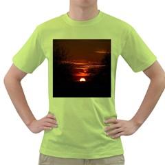 Sunset Sun Fireball Setting Sun Green T-Shirt