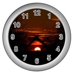 Sunset Sun Fireball Setting Sun Wall Clocks (silver)