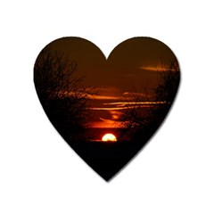 Sunset Sun Fireball Setting Sun Heart Magnet