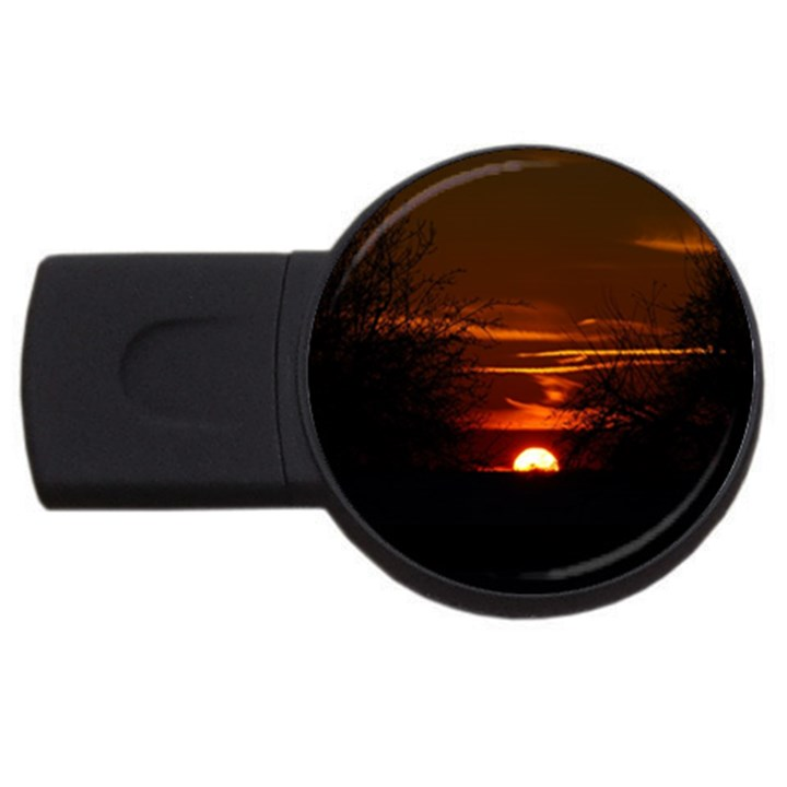 Sunset Sun Fireball Setting Sun USB Flash Drive Round (4 GB)