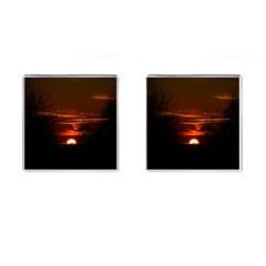 Sunset Sun Fireball Setting Sun Cufflinks (Square)