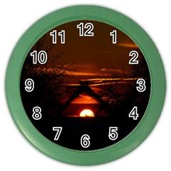Sunset Sun Fireball Setting Sun Color Wall Clocks