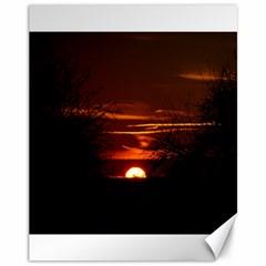 Sunset Sun Fireball Setting Sun Canvas 11  X 14