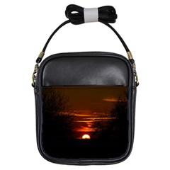 Sunset Sun Fireball Setting Sun Girls Sling Bags