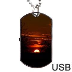 Sunset Sun Fireball Setting Sun Dog Tag USB Flash (One Side)
