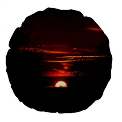 Sunset Sun Fireball Setting Sun Large 18  Premium Round Cushions