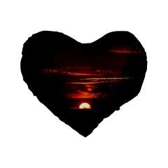 Sunset Sun Fireball Setting Sun Standard 16  Premium Heart Shape Cushions