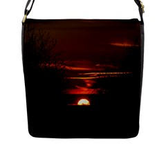 Sunset Sun Fireball Setting Sun Flap Messenger Bag (L)