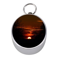 Sunset Sun Fireball Setting Sun Mini Silver Compasses