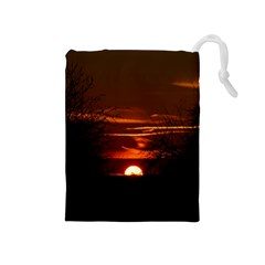 Sunset Sun Fireball Setting Sun Drawstring Pouches (Medium)