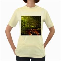 Red Deer Deer Roe Deer Antler Women s Yellow T Shirt