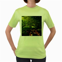 Red Deer Deer Roe Deer Antler Women s Green T Shirt