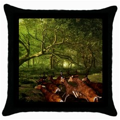 Red Deer Deer Roe Deer Antler Throw Pillow Case (black)