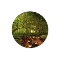 Red Deer Deer Roe Deer Antler Magnet 3  (round)