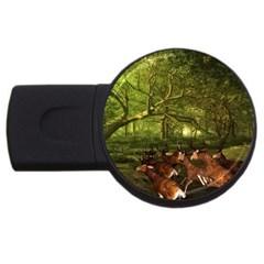 Red Deer Deer Roe Deer Antler USB Flash Drive Round (2 GB)
