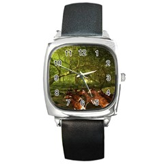 Red Deer Deer Roe Deer Antler Square Metal Watch
