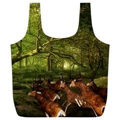Red Deer Deer Roe Deer Antler Full Print Recycle Bags (L)