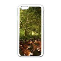 Red Deer Deer Roe Deer Antler Apple iPhone 6/6S White Enamel Case