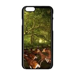 Red Deer Deer Roe Deer Antler Apple Iphone 6/6s Black Enamel Case