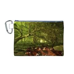Red Deer Deer Roe Deer Antler Canvas Cosmetic Bag (M)