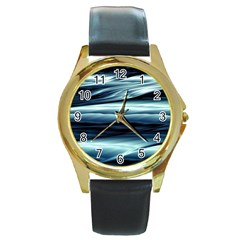 Texture Fractal Frax Hd Mathematics Round Gold Metal Watch