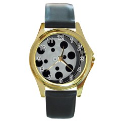 Turntable Record System Tones Round Gold Metal Watch