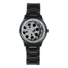Turntable Record System Tones Stainless Steel Round Watch