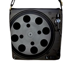 Turntable Record System Tones Flap Messenger Bag (L)