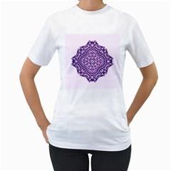 Mandala Purple Mandalas Balance Women s T Shirt (white) (two Sided)