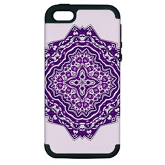 Mandala Purple Mandalas Balance Apple iPhone 5 Hardshell Case (PC+Silicone)