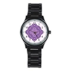 Mandala Purple Mandalas Balance Stainless Steel Round Watch