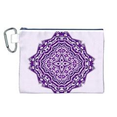 Mandala Purple Mandalas Balance Canvas Cosmetic Bag (L)