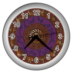 Zodiak Zodiac Sign Metallizer Art Wall Clocks (silver)