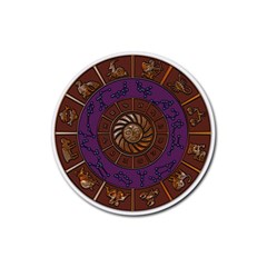 Zodiak Zodiac Sign Metallizer Art Rubber Round Coaster (4 Pack)